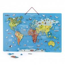 Пазл магнитный Viga Toys Карта мира с маркерной доской на украинском 44508