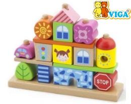 Деревянные кубики конструктор Viga toys