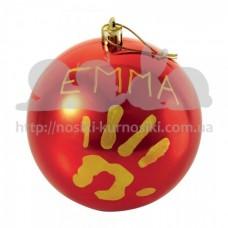Елочная игрушка Шар с отпечатком малыша 11 см Красный