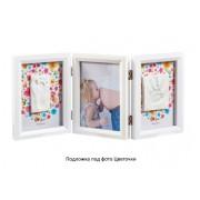 Рамочка с отпечатком тройная Цветы-Птички белая