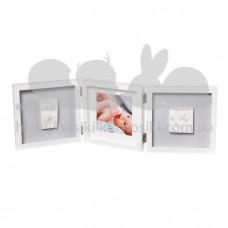 Baby Art Тройная рамка квадратная Бело/серая