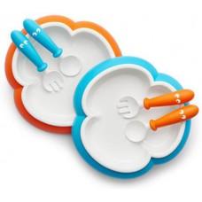 Детский набор тарелка вилка ложка Baby Plate Spoon and Fork Orange-Turquoise оранжевый