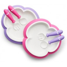 Детский набор тарелка вилка ложка Baby Plate Spoon and Fork Pink-Purple розовый