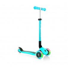 Самокат Globber Primo Foldable Lights голубой колеса с подсветкой до 50кг от 3 лет