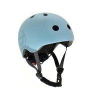Шлем защитный детский Scoot and Ride серо-синий с фонариком 51-55см S M