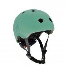 Шлем защитный детский Scoot and Ride серо-зеленый с фонариком 51-55см S M