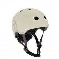 Шлем защитный детский Scoot and Ride светло-серый с фонариком 51-55см S M