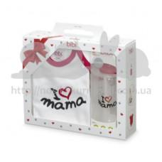 Подарок новорожденному боди и бутылочка Мама