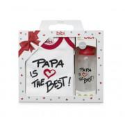 Подарок новорожденному боди и бутылочка Папа