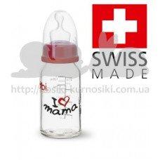 Стеклянная бутылочка Премиум 120 мл с соскою Дентал S Мама Папа