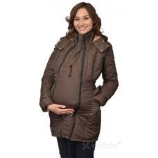Демисезонная куртка для беременности плюс слинговставка Катинка коричневый