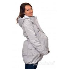 Демисезонная куртка для беременности плюс слинговставка Катинка серый