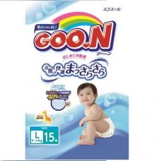 Подгузники goon для детей 9-14 кгразмер L на липучках унисекс 15 шт