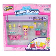 Игровой набор с куклой Happy Places S1 Ванная Комната Баббл Гам 13 петкинсов