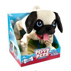 Игрушка Peppy pets Веселая прогулка Мопс 28 см ошейник поводок