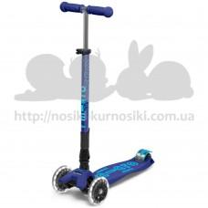 Самокат детский Micro Maxi Deluxe Led светящиеся колеса Deep Blue Tf