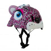 Детский шлем Crazy Safety Леопард розовый 2-7 лет c фонариком S