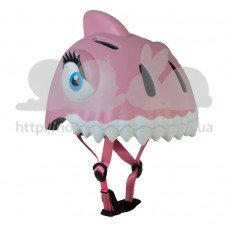 Детский шлем Crazy Safety Акула розовая 2-7 лет c фонариком S