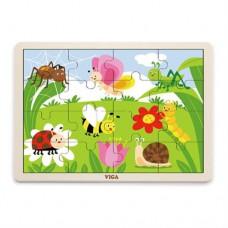 Деревянный пазл Viga Toys Насекомые 16 элементов 51450