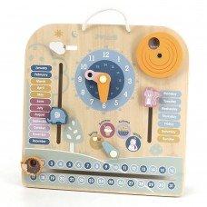 Деревянный календарь Viga Toys PolarB с часами на английском языке 44056