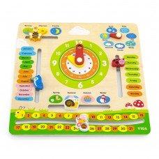 Деревянный календарь Viga Toys с часами на английском языке 44538