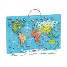 Пазл магнитный Viga Toys Карта мира с маркерной доской на английском 44508EN