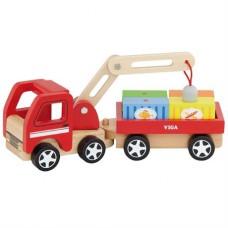 Игрушка деревянная машинка Автокран