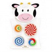 Развивающая игрушка бизиборд Корова с кругами