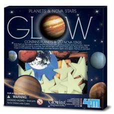 Игровой набор 4M Светящиеся наклейки Планеты и 20 звезд