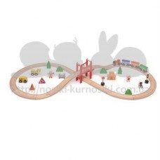 Железная дорога деревянная 39 деталей