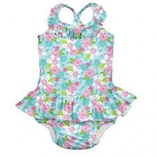 Детский купальник-подгузник I Play Light Aqua Paradise Flower 6 мес