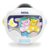 Cветильник ночник детский Weina Двойняшки Тедди с проектором